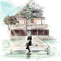 膝丸と大覚寺のある風景
